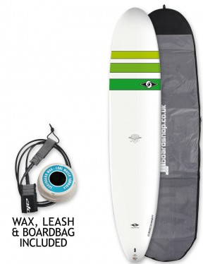 Bic ACE-TEC Classic Longboard Surfboard Package 9ft 0 - Green