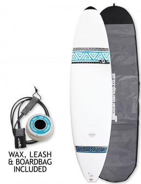 Bic DURA-TEC Mini Malibu surfboard 7ft 3 Package - Light Blue