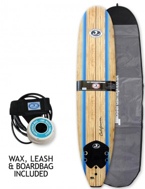 California Board Company Longboard foam surfboard 9ft 0 package - Wood Grain/Blue