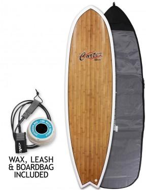 Cortez Fish Veneer surfboard package 6ft 6 - Bamboo