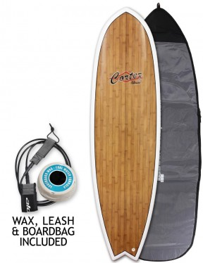 Cortez Fish Veneer surfboard package 6ft 9 - Bamboo
