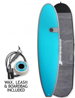 Cortez Funboard Surfboard 7ft 0 package - Teal