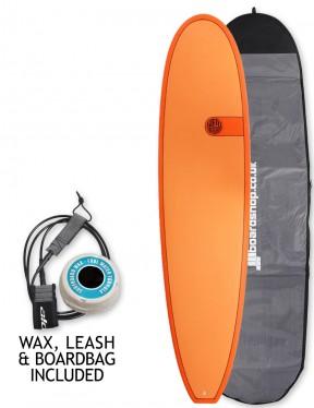 Cortez Funboard surfboard 7ft 6 package - Hot Orange