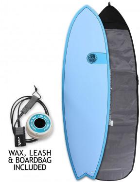 Cortez Fish surfboard 6ft 6 package - Ocean Blue