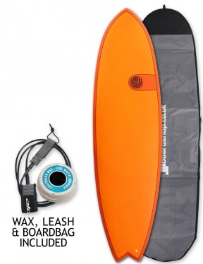 Cortez Fish surfboard package 6ft 6 - Hot Orange