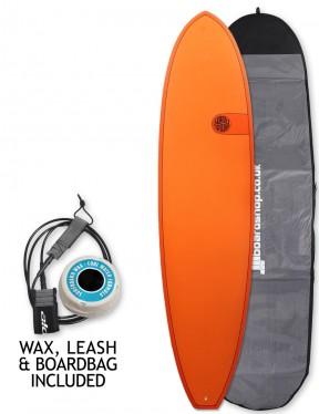 Cortez Funboard Surfboard Package 7ft 4 - Hot Orange