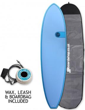 Cortez Funboard surfboard package 7ft 6 - Ocean Blue