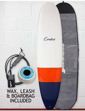 Cortez Funboard Surfboard Package 7ft 4 - Navy/Orange Dip