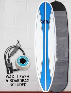 Cortez Funboard Surfboard package 7ft 6 - Blue