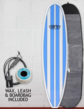 Cortez Funboard Surfboard Package 7ft 6 - Light Blue