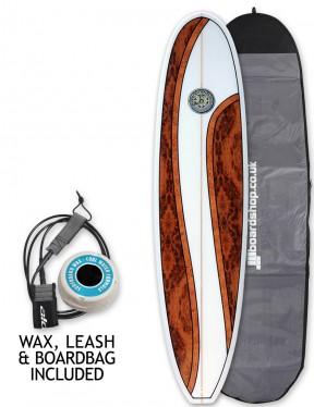 Hawaiian Soul Mini Mal surfboard package 7ft 4 - Walnut