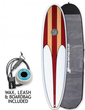 Hawaiian Soul Mini Mal surfboard package 7ft 2 - Cherry