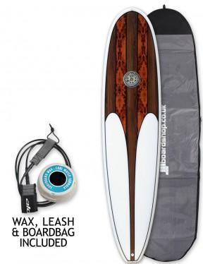 Hawaiian Soul Veneer Mini Mal surfboard package 8ft 0 - Walnut