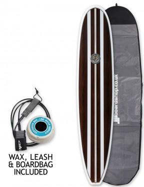 Hawaiian Soul Veneer Mini Mal surfboard package 7ft 2 - Mahogany