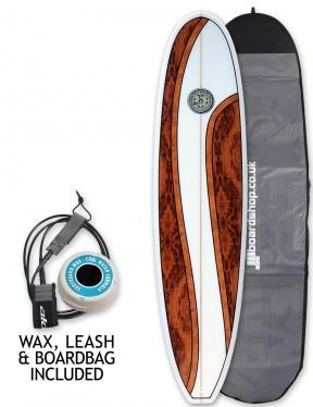 Hawaiian Soul Mini Mal surfboard package 7ft 6 - Wavy Walnut
