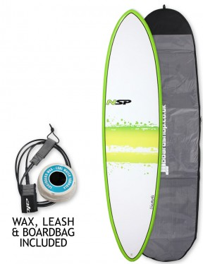 NSP Elements Funboard surfboard 7ft 2 package - Green