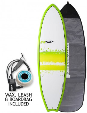 NSP Elements Fish surfboard 7ft 4 package - Green