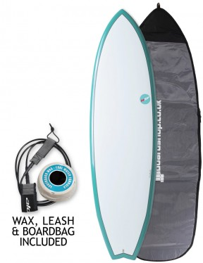 NSP Elements Fish surfboard package 6ft 4 - Aqua