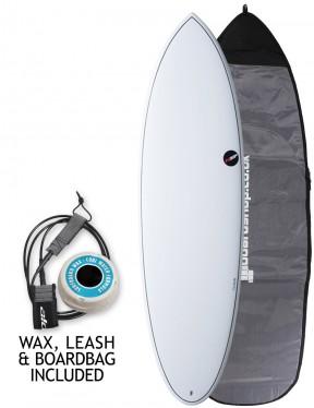 NSP Elements Hybrid surfboard package 6ft 4 - White