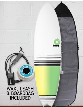 Torq Mod Fish surfboard package 6ft 10 - White/Yellow/Green Fade
