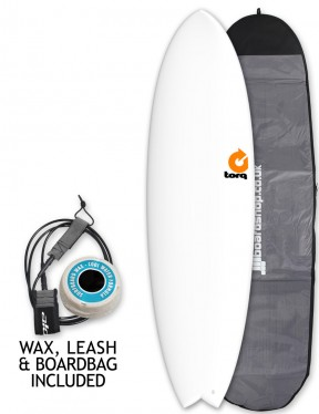 Torq Mod Fish surfboard package 6ft 10 - Matte White