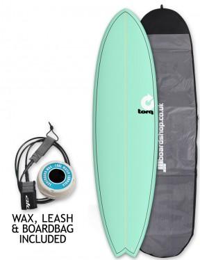 Torq Mod Fish surfboard package 7ft 2 - Sea Green/Pinline