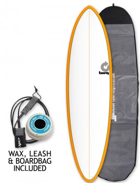 Torq Mod Fun surfboard package 6ft 8 - Orange/White/Pinline