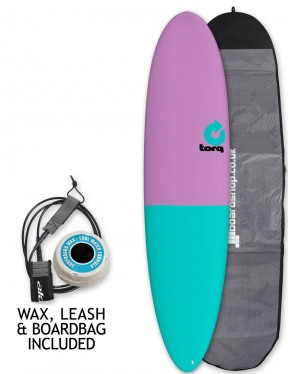 Torq Mod Fun surfboard package 7ft 6 - Lavender/Sea Green