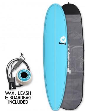 Torq Mini Long surfboard package 8ft 0 - Blue/Pinline