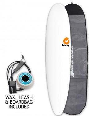 Torq Mini Long surfboard package 8ft 0 - Matte White
