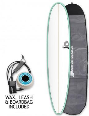 Torq Longboard Surfboard Package 9ft 0 - Sea Green/White/Pinline