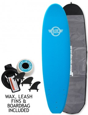 Surfworx Base Mini Mal soft surfboard package 7ft 0 - Azure Blue