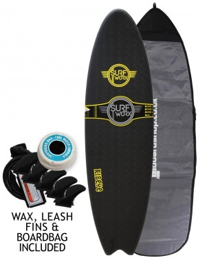 Surfworx Ribeye Hybrid soft surfboard package 6ft 4 - Black