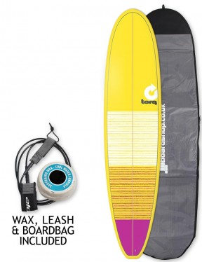 Torq Mini Long surfboard package 8ft 0 - Yellow/Pink