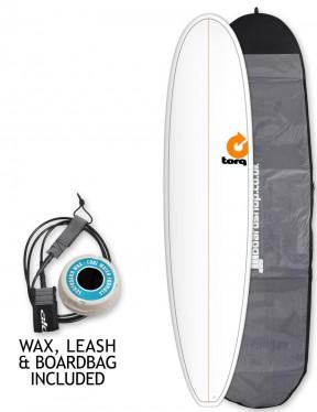 Torq Mini Long surfboard package 8ft 0 - White/Pinline