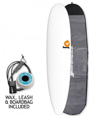 Torq Longboard surfboard package 8ft 6 - White
