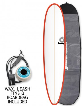 Torq Longboard surfboard 8ft 6 package - Red/White Pinline