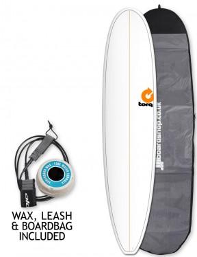 Torq Longboard surfboard package 8ft 6 - White/Pinline