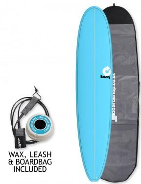 Torq Longboard Surfboard Package 9ft 0 - Blue/Pinline