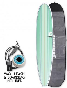 Torq Longboard Surfboard Package 9ft 0 - Sea Green Stripes/Pinline