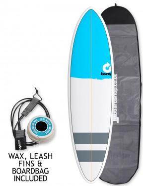Torq Mod Fun surfboard 6ft 8 package - Blue Nose/Stripes