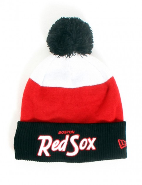 New Era Cuff Scripter Boston Red Sox Bobble cuff beanie - Black/Scarlet/White