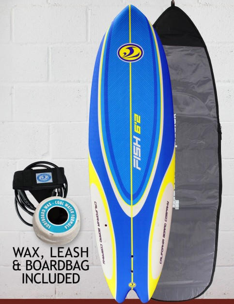 California Board Company Sushi Fish Package Soft Surfboard 6ft 2 - Blue/Yellow/White