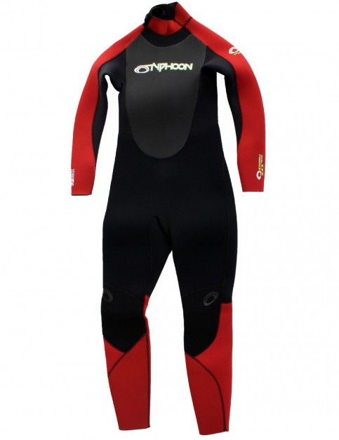 Typhoon Boys Storm 5/4/3mm Wetsuit 2017 - Black/Red