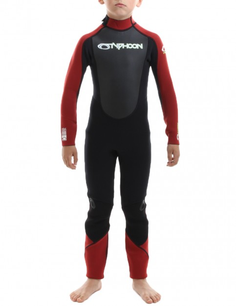 Typhoon Boys Storm 3/2mm Wetsuit 2016 - Red/Black