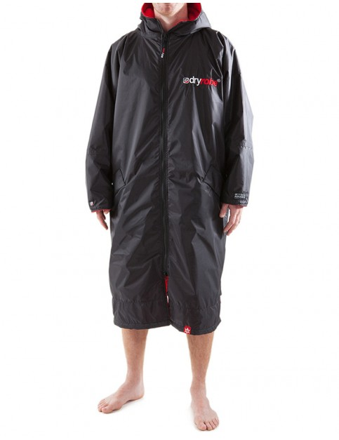 Dryrobe Advance Long Sleeve Medium (adult slim size) outdoor change robe - Black/Red