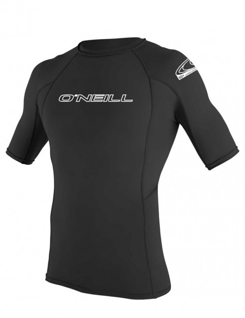 O'Neill Basic Skins Short Sleeve Crew Rash Vest - Black
