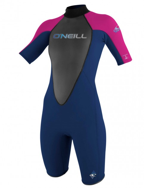 O'Neill Ladies Reactor Shorty 2mm Wetsuit 2017 - Navy/Punk Pink/Navy