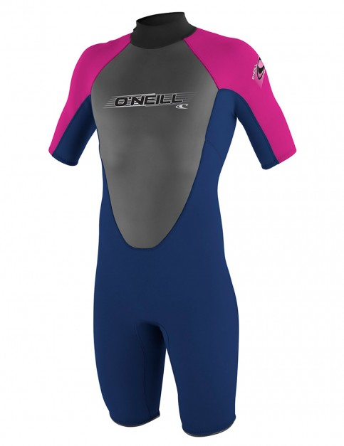 O'Neill Girls Reactor Shorty 2mm Wetsuit 2016 - Navy/Navy/Pink/Pink