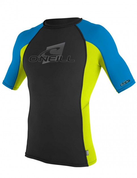 O'Neill Skins Short Sleeve Crew Rash Vest - Black/Lime/Brite Blue